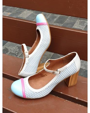 Zapato topos celeste tacon